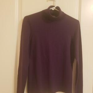 Ann Taylor Purple Silk & Cotton Turtleneck Sweater